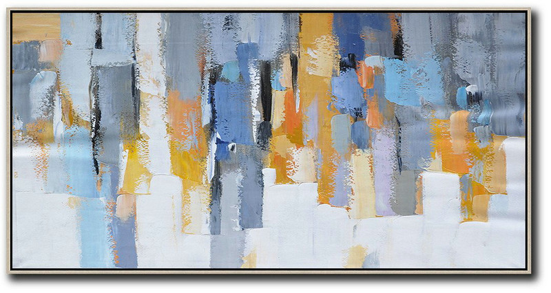 Extra Large Canvas Art,Horizontal Palette Knife Contemporary Art,Abstract Painting On Canvas,White,Grey,Orange,Yellow,Blue.etc