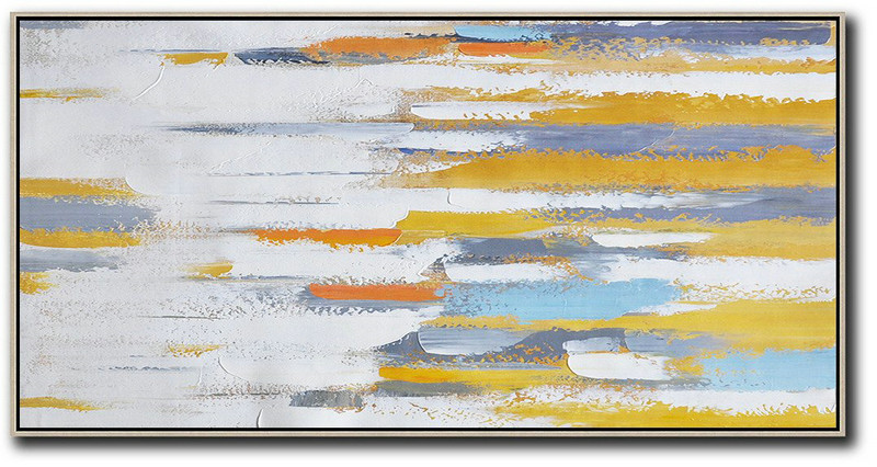Extra Large Abstract Painting On Canvas,Horizontal Palette Knife Contemporary Art,Personalized Canvas Art,White,Yellow,Orange,Blue.etc