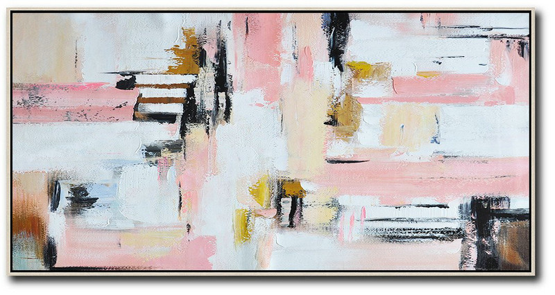 Hand Made Abstract Art,Horizontal Palette Knife Contemporary Art,Canvas Painting Wall Decor,White,Pink,Light Yellow.etc
