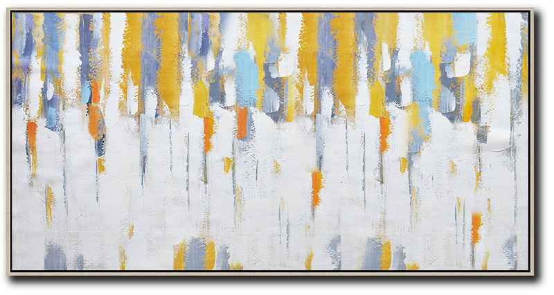 Extra Large Acrylic Painting On Canvas,Horizontal Palette Knife Contemporary Art,Large Wall Canvas Paintings,White,Grey,Yellow.etc
