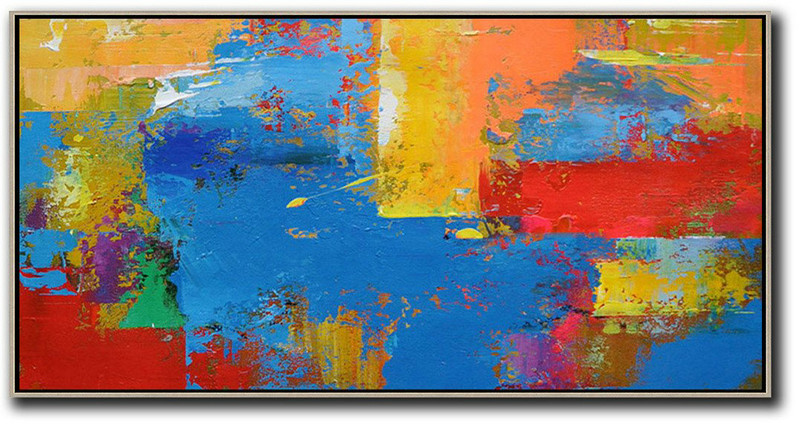 Extra Large Canvas Art,Horizontal Palette Knife Contemporary Art Panoramic Canvas Painting,Art Work,Blue,Yellow,Orange,Red.etc