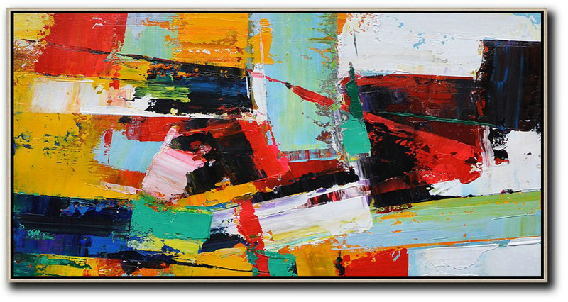 Original Artwork Extra Large Abstract Painting,Horizontal Palette Knife Contemporary Art Panoramic Canvas Painting,Large Abstract Wall Art,White,Yellow,Red,Black.etc