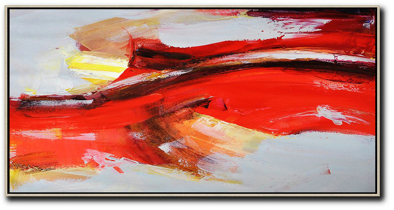 Extra Large Acrylic Painting On Canvas,Horizontal Palette Knife Contemporary Art Panoramic Canvas Painting,Contemporary Abstract Painting,Red,Grey,Yellow.etc