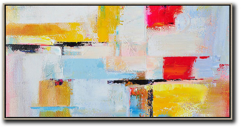 Original Abstract Painting Extra Large Canvas Art,Horizontal Palette Knife Contemporary Art Panoramic Canvas Painting,Canvas Paintings For Sale,White,Blue,Yellow,Red.etc