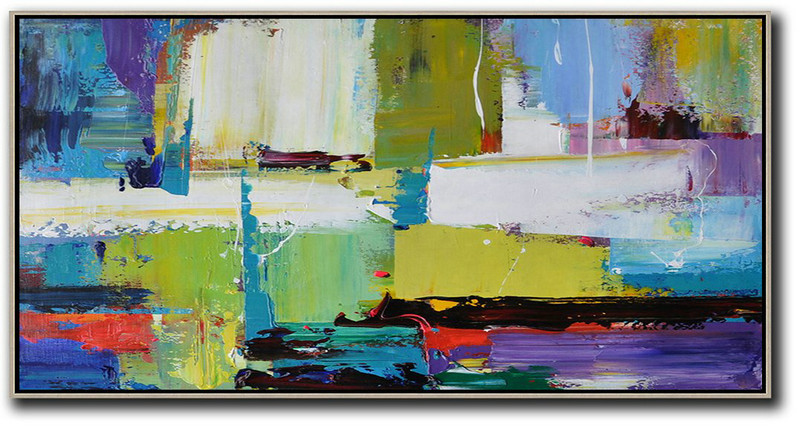 Extra Large Abstract Painting On Canvas,Horizontal Palette Knife Contemporary Art Canvas Painting,Modern Art,Light Green,Purple,Grey,Yellow.etc
