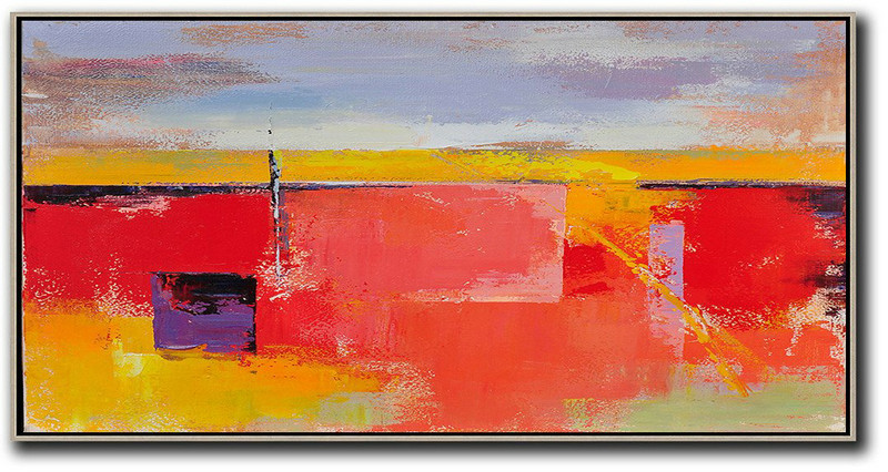 Oversized Canvas Art On Canvas,Horizontal Palette Knife Contemporary Art,Textured Painting Canvas Art,Purple Grey,Yellow,Red.etc