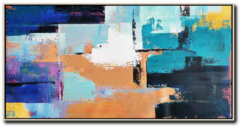 Large Abstract Art Handmade Oil Painting,Horizontal Palette Knife Contemporary Art Panoramic Canvas Painting,Extra Large Canvas Painting,White,Lake Blue,Blue,Black,Earthy Yellow.etc