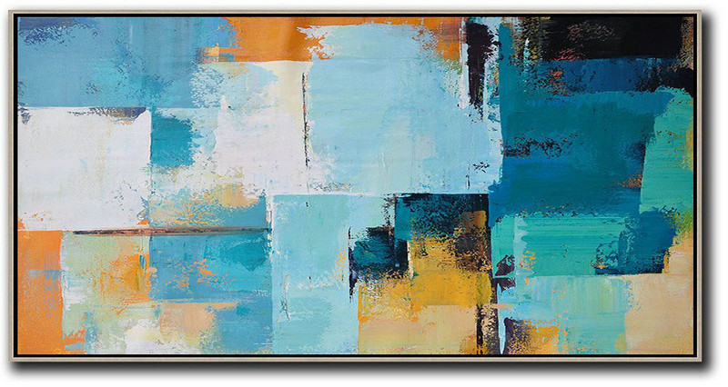 Original Extra Large Wall Art,Horizontal Palette Knife Contemporary Art Panoramic Canvas Painting,Abstract Painting Modern Art,White,Blue,Yellow,Orange.etc