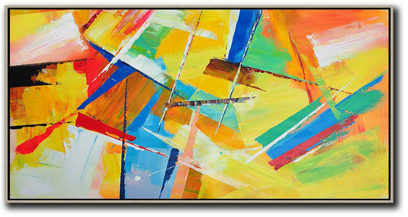 Handmade Painting Large Abstract Art,Horizontal Palette Knife Contemporary Art Panoramic Canvas Painting,Handmade Acrylic Painting,Yellow,Red,White,Blue,Green.etc