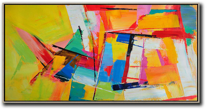 Huge Abstract Painting On Canvas,Horizontal Palette Knife Contemporary Art Panoramic Canvas Painting,Large Wall Art Home Decor,Yellow,Red,White,Blue.etc