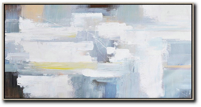 Huge Abstract Painting On Canvas,Horizontal Palette Knife Contemporary Art Panoramic Canvas Painting,Hand Paint Large Art,White,Grey,Yellow,Brown.etc