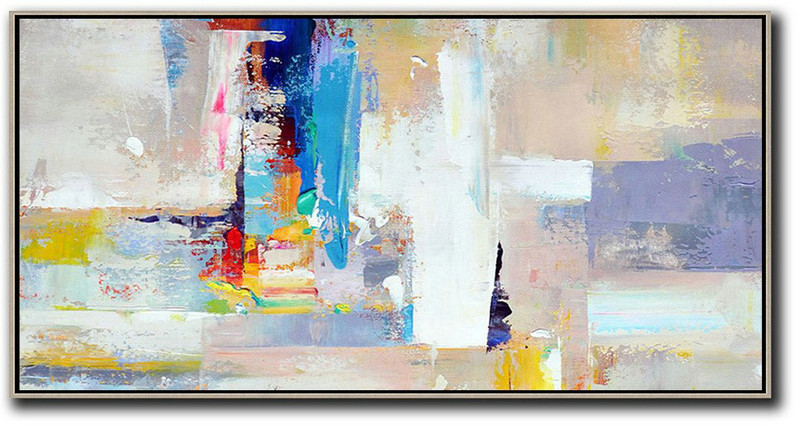 Large Abstract Art Handmade Oil Painting,Horizontal Palette Knife Contemporary Art Panoramic Canvas Painting,Big Wall Art For Living Room,Grey,White,Blue,Purple.etc