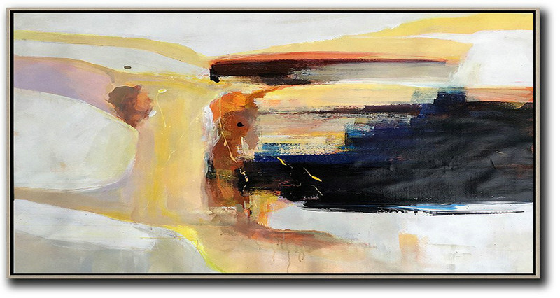Extra Large Acrylic Painting On Canvas,Horizontal Palette Knife Contemporary Art Panoramic Canvas Painting,Original Art Acrylic Painting,Grey,Yellow,Black,Brown.etc