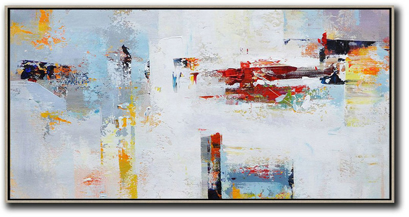 Original Extra Large Wall Art,Horizontal Palette Knife Contemporary Art Panoramic Canvas Painting,Bedroom Wall Decor,Grey,White,Red,Yellow.etc
