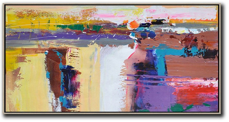 Extra Large Acrylic Painting On Canvas,Horizontal Palette Knife Contemporary Art Panoramic Canvas Painting,Living Room Canvas Art,Yellow,White,Brown,Purple.etc