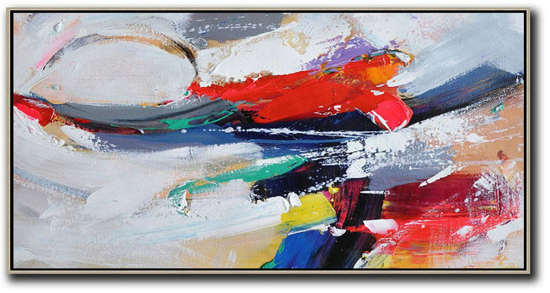 Original Abstract Painting Extra Large Canvas Art,Horizontal Palette Knife Contemporary Art Panoramic Canvas Painting,Canvas Wall Paintings,White,Red,Grey,Dark Blue.etc
