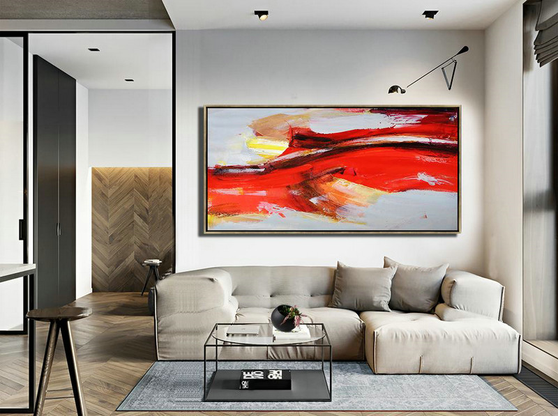 Large Abstract Art,Horizontal Palette Knife Contemporary Art Panoramic Canvas Painting,Lounge Room Decor,White,Grey,Yellow.etc