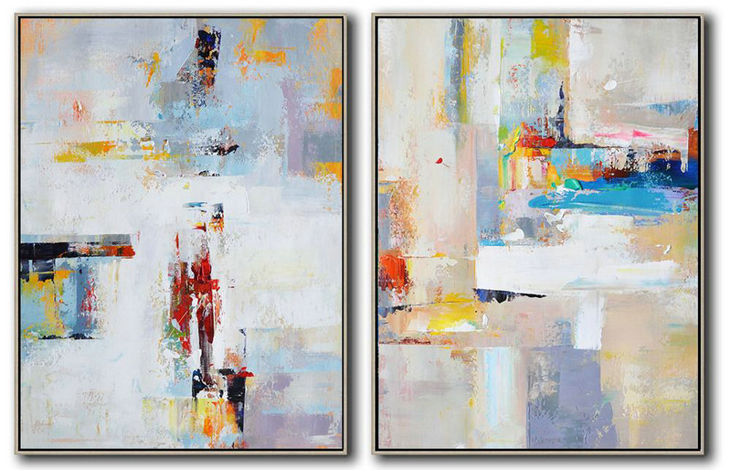 Large Abstract Painting Canvas Art,Set Of 2 Contemporary Art On Canvas,Large Abstract Wall Art,White,Blue,Violet Ash,Red,Grey.etc