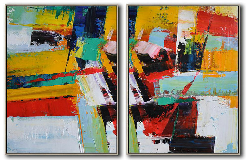 Original Painting Hand Made Large Abstract Art,Set Of 2 Contemporary Art On Canvas,Art Work,Red,Yellow,Light Green,White,Black.etc