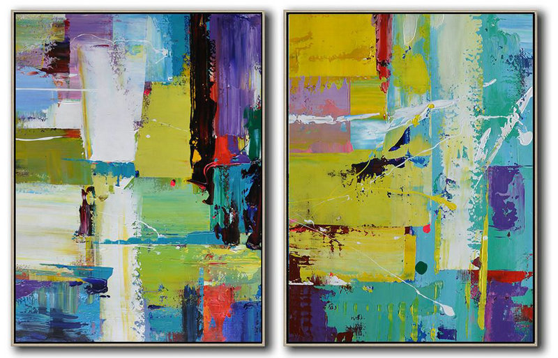 Extra Large Painting,Set Of 2 Contemporary Art On Canvas,Modern Abstract Wall Art,Yellow,Light Green,Red,Purple.etc