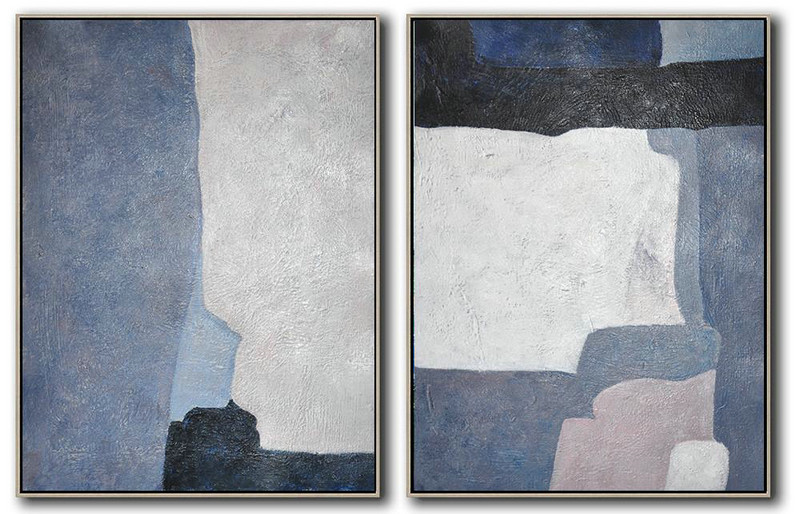 Extra Large Acrylic Painting On Canvas,Set Of 2 Contemporary Art On Canvas,Extra Large Paintings,White,Grey,Dark Blue,Black.etc