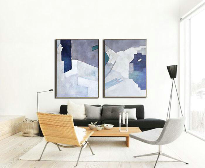 Abstract Painting Extra Large Canvas Art,Set Of 2 Contemporary Art On Canvas,Huge Abstract Canvas Art,White,Grey,Dark Blue.etc - Click Image to Close