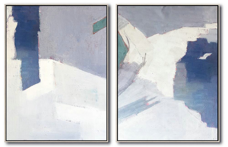 Handmade Extra Large Contemporary Painting,Set Of 2 Contemporary Art On Canvas,Original Art Acrylic Painting,White,Grey,Blue.etc