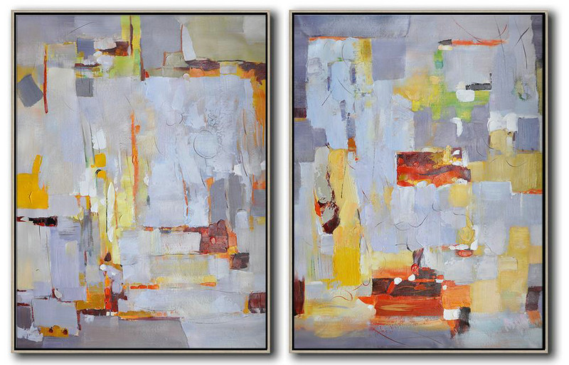 Art Work,Set Of 2 Contemporary Art On Canvas,Abstract Art Decor Large Canvas Painting,Grey,White,Yellow,Red.etc