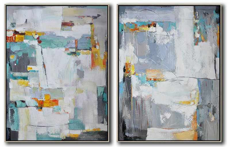 Large Abstract Painting Canvas Art,Set Of 2 Contemporary Art On Canvas,Giant Canvas Wall Art,Grey,Blue,White,Yellow,Sky Blue.etc