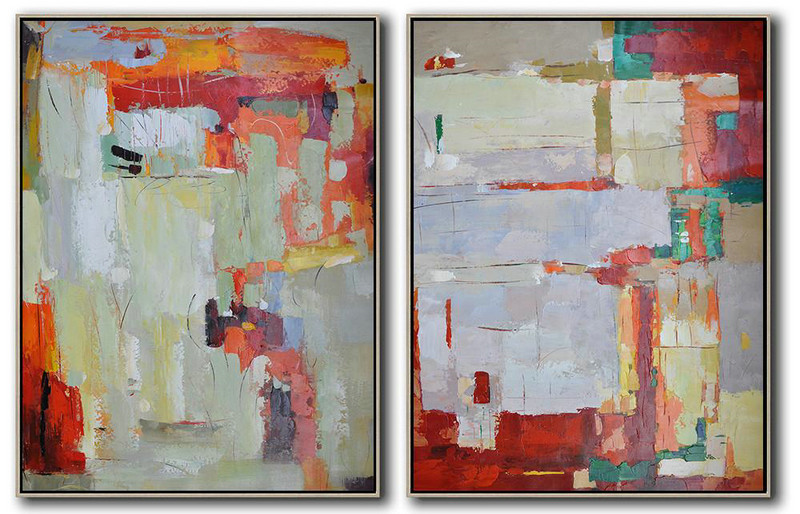 Extra Large Painting,Set Of 2 Contemporary Art On Canvas,Custom Canvas Wall Art,Purple Grey,Dark Red,Light Green.etc