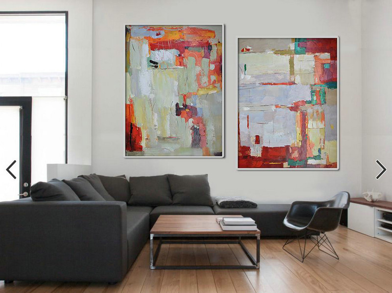 Handmade Large Contemporary Art,Set Of 2 Contemporary Art On Canvas,Living Room Canvas Art,Red,Grey,Orange,Green.etc