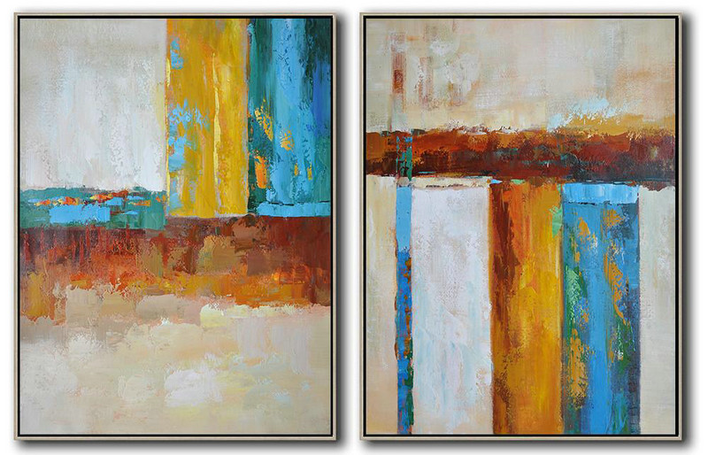 Large Abstract Art,Set Of 2 Contemporary Art On Canvas,Big Canvas Painting,Grey,Yellow,Blue,Dark Red,Brown.etc