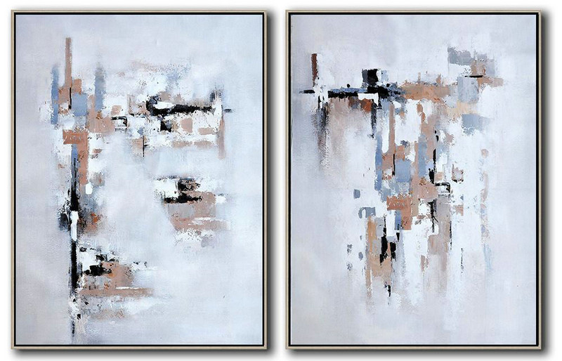 Large Abstract Art Handmade Oil Painting,Set Of 2 Contemporary Art On Canvas,Oversized Custom Canvas Art,White,Grey,Black,Earthy Yellow .etc