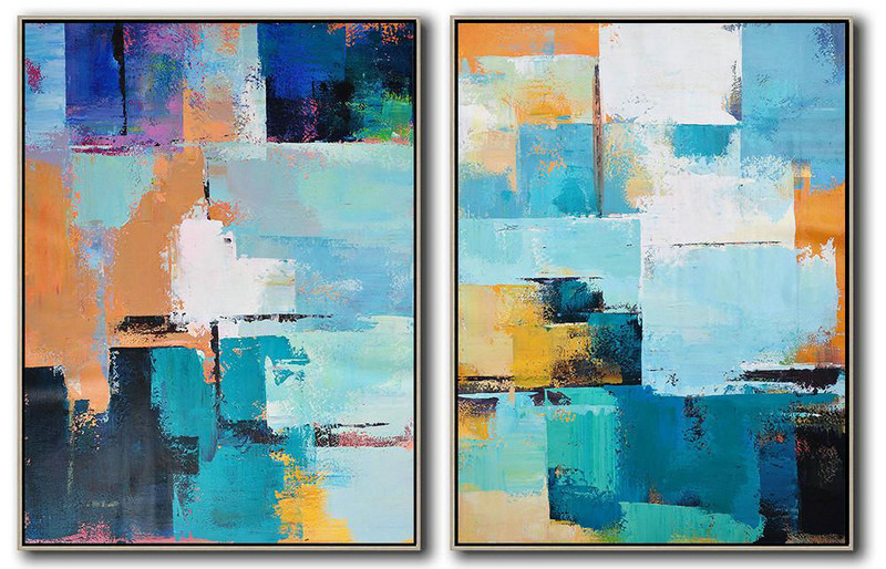 Extra Large Acrylic Painting On Canvas,Set Of 2 Contemporary Art On Canvas,Modern Art,Blue,Yellow,Sky Blue,White,Beige.etc