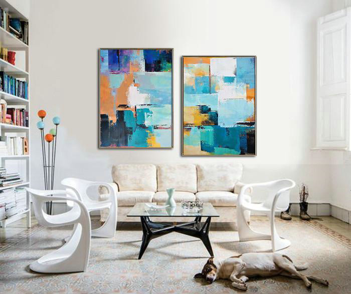 "Extra Large 72"" Acrylic Painting,Set Of 2 Contemporary Art On Canvas,Size Extra Large Abstract Art,White,Dark Blue,Earthy Yellow,Black.etc"