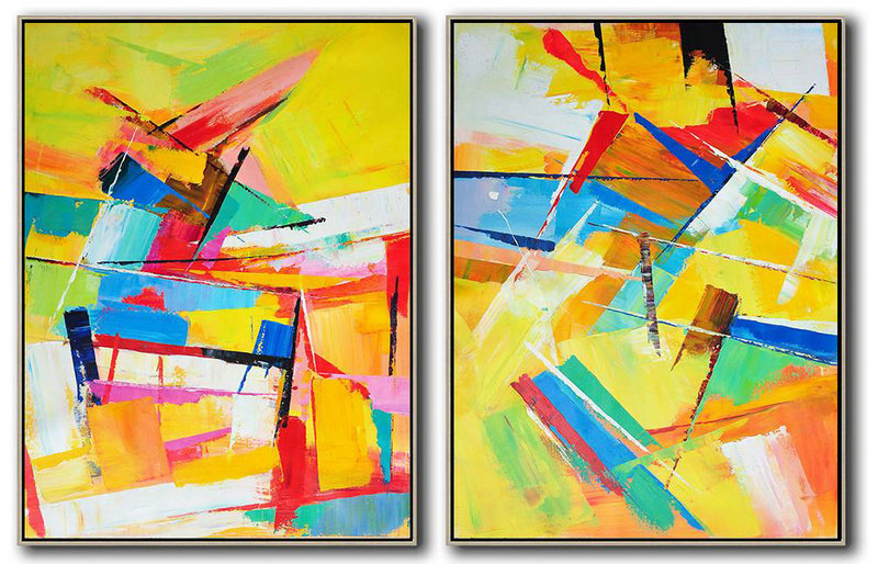 Abstract Painting Extra Large Canvas Art,Set Of 2 Contemporary Art On Canvas,Large Colorful Wall Art,Yellow,Orange,Red,Blue.etc