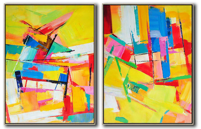 Original Extra Large Wall Art,Set Of 2 Contemporary Art On Canvas,Large Oil Canvas Art,Yellow,Red,Blue,Green,Purple.etc