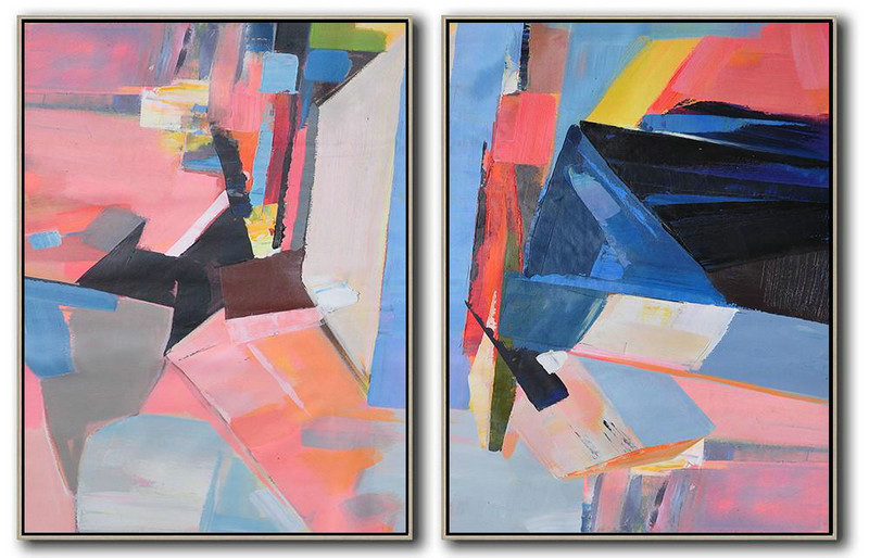 Hand Painted Extra Large Abstract Painting,Set Of 2 Contemporary Art On Canvas,Acrylic Painting Large Wall Art,Pink,Blue,Black,Red.etc