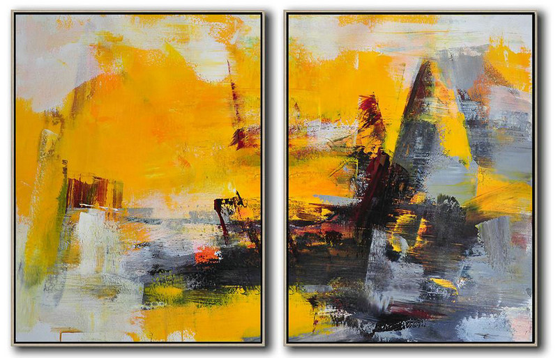 Handmade Large Contemporary Art,Set Of 2 Contemporary Art On Canvas,Large Contemporary Painting,Yellow,Grey,Black.etc