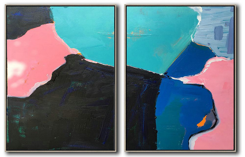 Large Abstract Wall Art,Set Of 2 Contemporary Art On Canvas,Hand-Painted Canvas Art,Pink,Black,Blue,White.etc