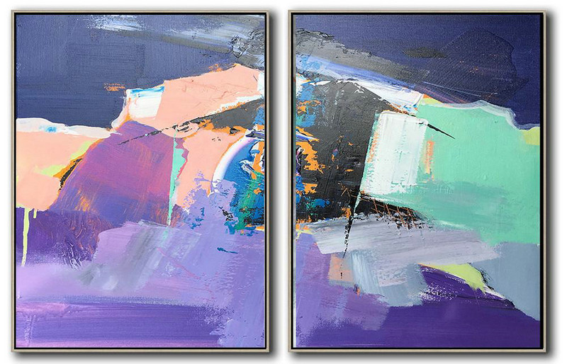 Modern Canvas Art,Set Of 2 Contemporary Art On Canvas,Original Abstract Painting Canvas Art,Dark Blue,Nude,Purple,Light Green,White.etc