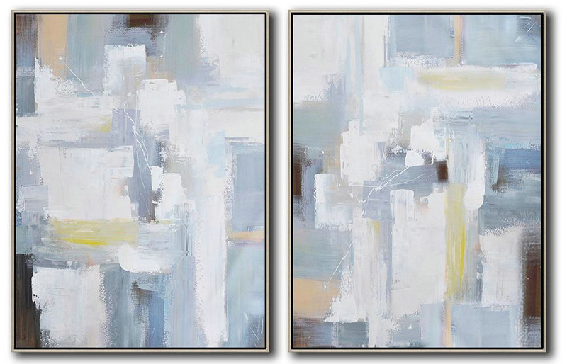 Hand Painted Extra Large Abstract Painting,Set Of 2 Contemporary Art On Canvas,Large Wall Art Home Decor,White,Grey,Light Blue.etc