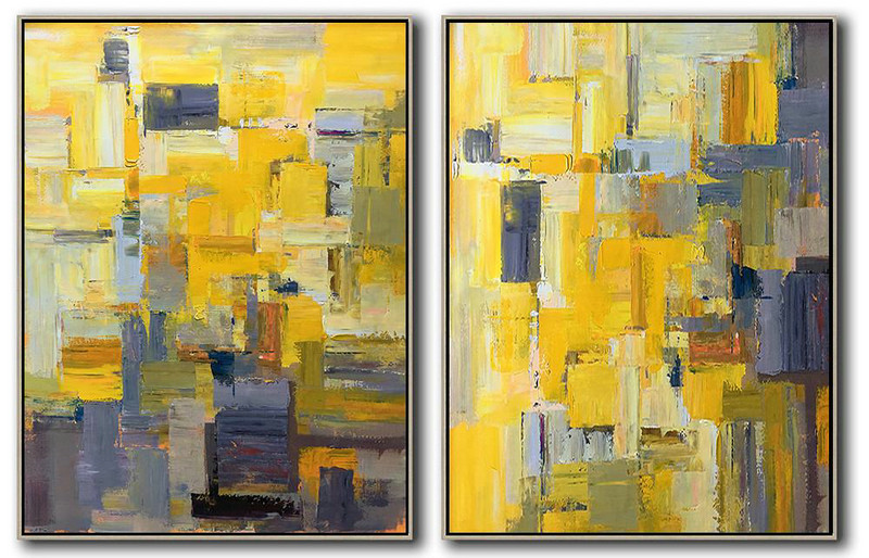 Extra Large Abstract Painting On Canvas,Set Of 2 Contemporary Art On Canvas,Contemporary Wall Art,Yellow,Purple,Taupe,Brown.etc