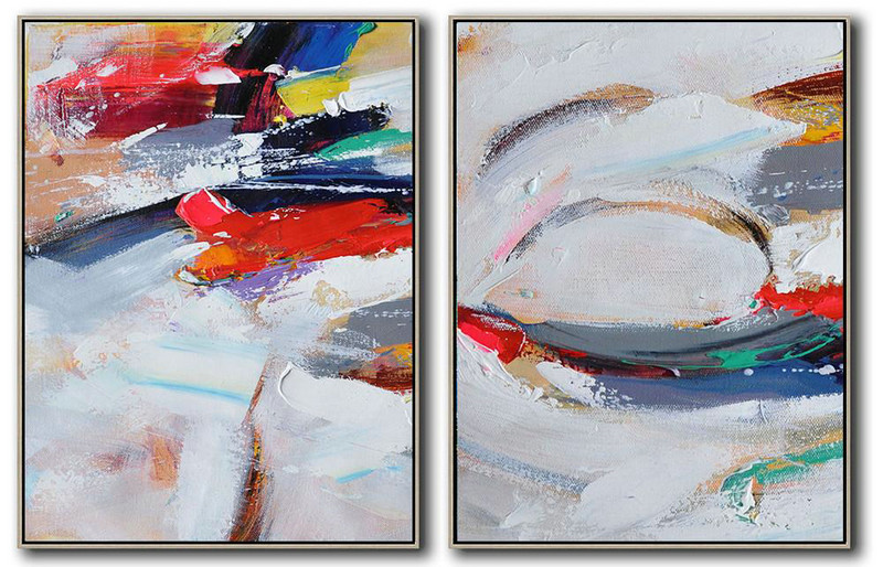 Large Abstract Painting On Canvas,Set Of 2 Contemporary Art On Canvas,Large Abstract Wall Art,Red,White,Purple,Grey.etc