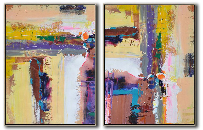 Handmade Painting Large Abstract Art,Set Of 2 Contemporary Art On Canvas,Extra Large Artwork,Yellow,Purple,Grey,White,Brown.etc
