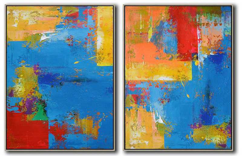 Large Living Room Wall Decor,Set Of 2 Contemporary Art On Canvas,Original Abstract Painting Canvas Art,Blue,Yellow,Red,Orange.etc