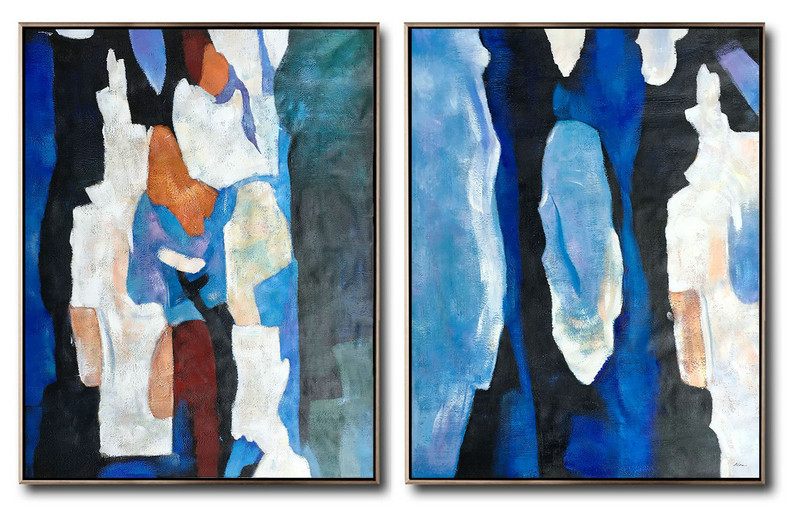 Huge Abstract Painting On Canvas,Large Set Of 2 Blue Minimalist Painting On Canvas,Huge Canvas Art On Canvas,Dark Blue,Black,Earthy Yellow,Black,Red.etc