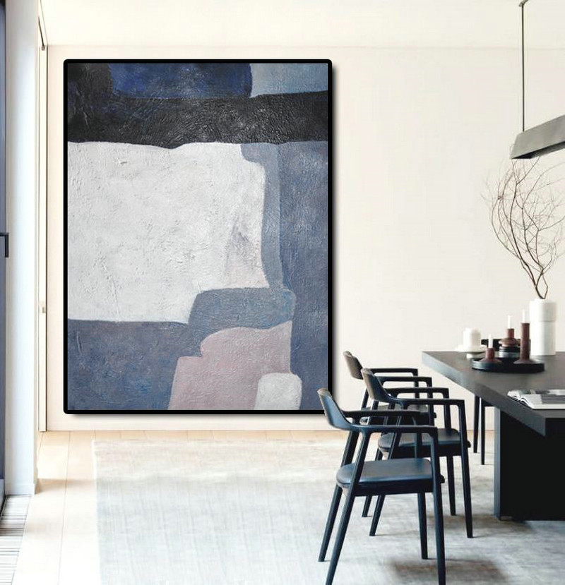 Large Modern Abstract Painting,Vertical Palette Knife Contemporary Art,Modern Paintings,Blue,White,Dark Blue,Violet.etc