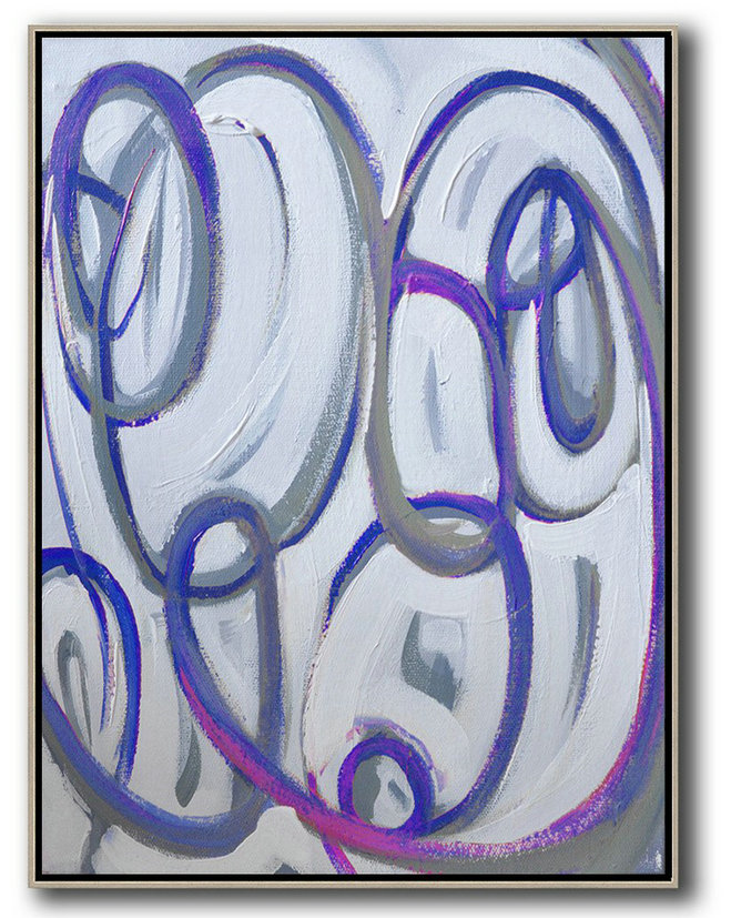 Contemporary Art Canvas Painting,Vertical Contemporary Art,Hand-Painted Contemporary Art,Blue,White,Pink,Purple.etc