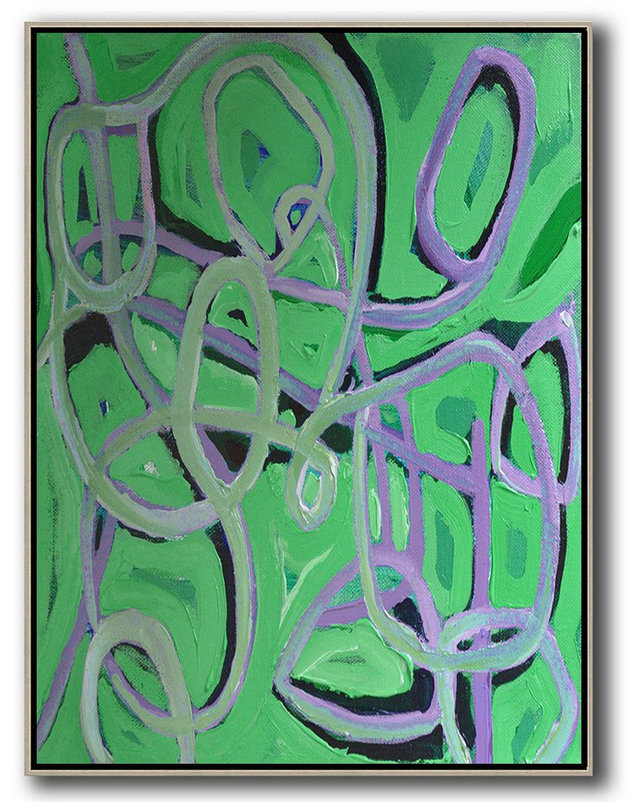 Large Abstract Painting On Canvas,Vertical Contemporary Art,Size Extra Large Abstract Art,Green,Purple,Black.etc